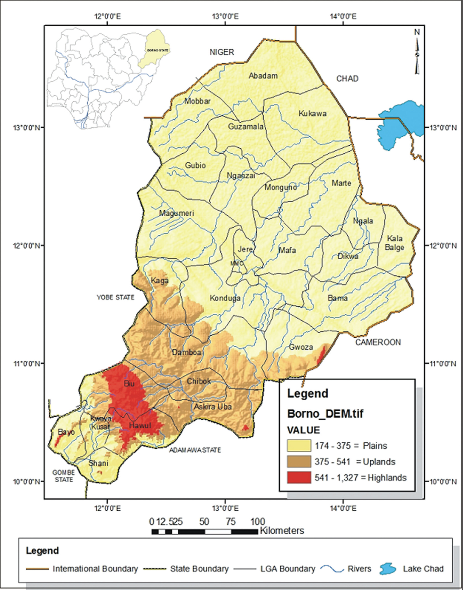 Figure 2: Map of Borno state showing local government areas affected by the cholera outbreak